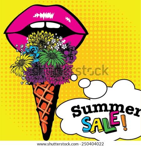 Pop Art Ice Cream flowers Summer Sale. Vector Illustration. - stock vector