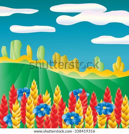 Pop-art landscape. Wheat field background. - stock vector