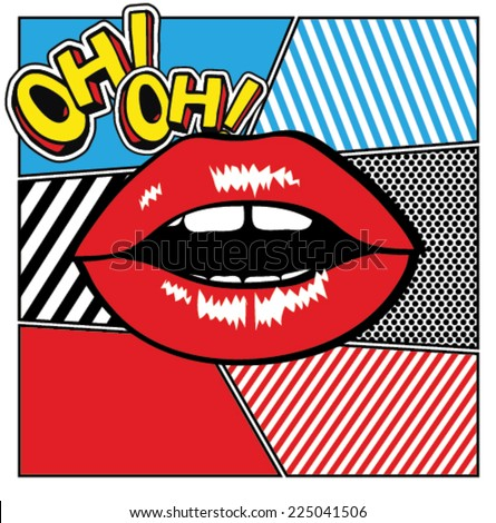 Pop art lips  - stock vector