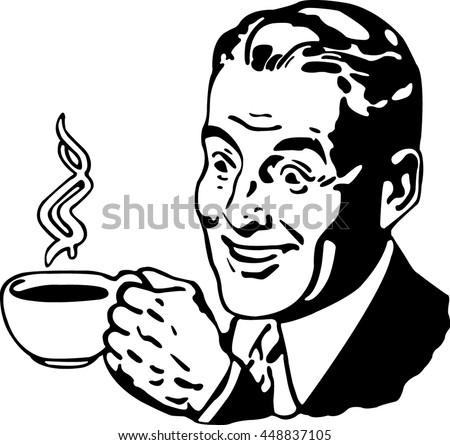 pop art man drinking coffee black stock vector 448837105