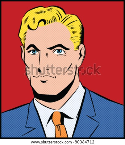 Pop Art Man - Separate dot and solid color layers - stock vector