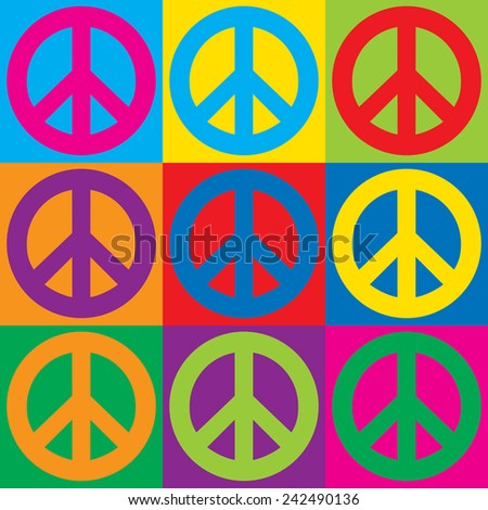 Pop Art Peace Symbols in a colorful checkerboard design.  - stock vector
