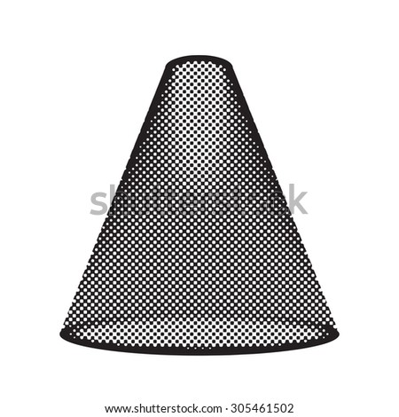 Pop art projector, spotlight shines, halftone effect, black and white colors. - stock vector