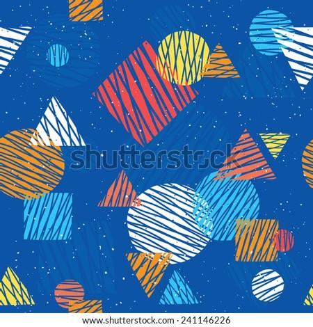 Pop art retro seamless vector background pattern (navy) - stock vector