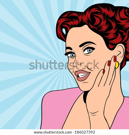 pop art retro woman in comics style, vector illustratation - stock vector