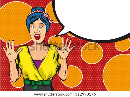 pop art Scared Woman - Separate dot and solid color layers - stock vector