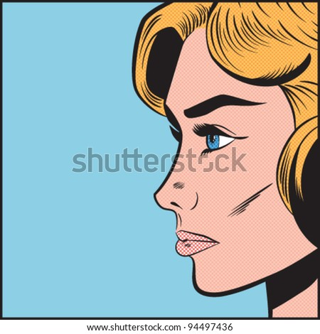Pop Art Serious Woman in Profile - Separate dot and solid color layers - stock vector