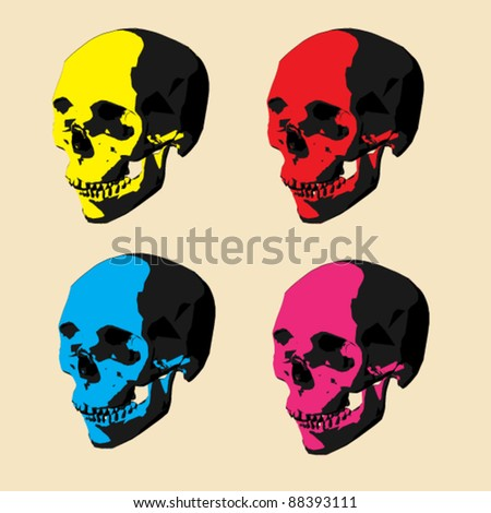 pop art skull - stock vector