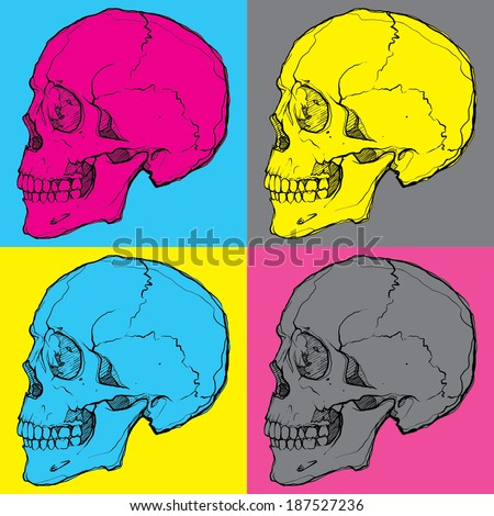 pop art skulls - stock vector
