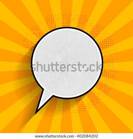 Pop art speech bubble on orange grunge dot and beams background. Vector comic bubble graphic design - stock vector
