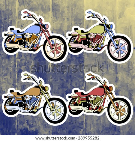 Pop art stickers set. Hand drawing retro motorbike.Vector illustration