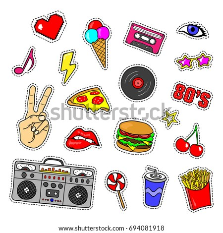 Pop art stickers with tape recorder cassette vinyl record fast food hand
