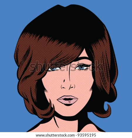 Pop Art Style Mod Girl -Separate dot & solid color layers - stock vector