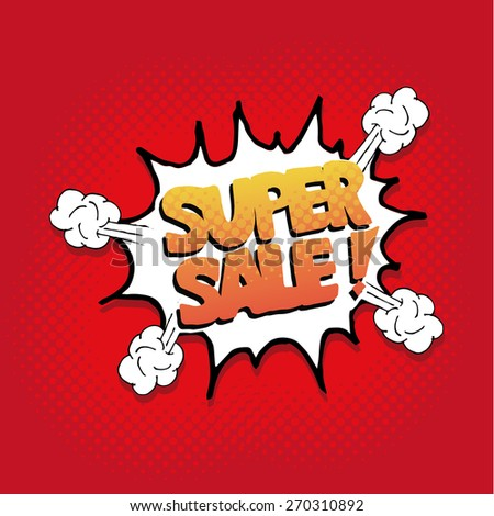 pop art super sale explosive  over red color background