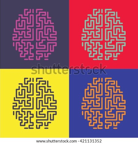 Pop art Top View Brain  - stock vector