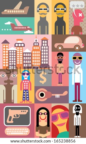 Pop Art - vector illustration. Collage of different pictures. - stock vector