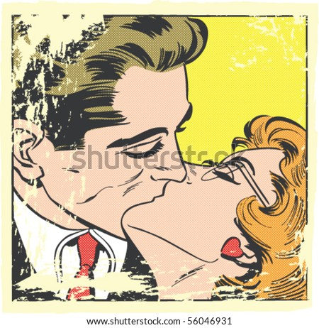 Pop art vector illustration of a kissing couple with Ben-Day dots - stock vector