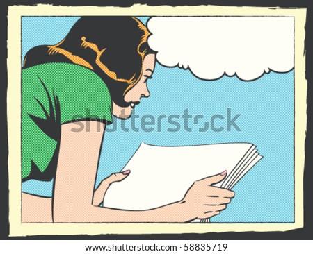 Pop Art Vector Illustration of a Woman Reading - stock vector
