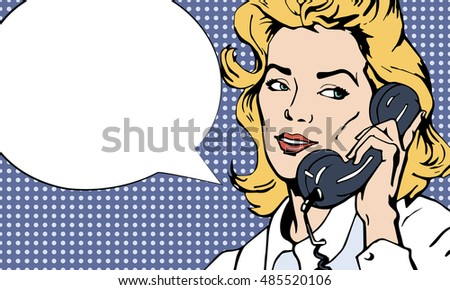 Pop art vintage comic. Girl talking on the phone. Retro style.