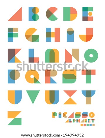 "Pop art vintage style designed ""Picasso"" vector alphabet set. - stock vector"