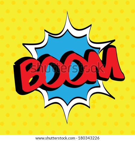 pop art with boom text over dotted background vector illustration ...