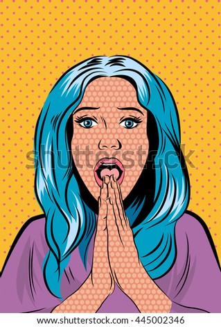 Pop Art Woman - on a polka-dots background. Vector - stock vector