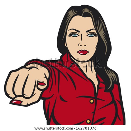 pop art woman pointing at you (beauty girl pointing her finger at you, pop art woman pointing with finger)  - stock vector