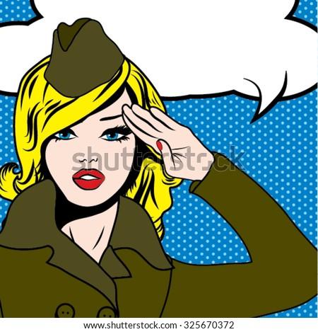 Pop Art Woman Salute. vector illustration - stock vector