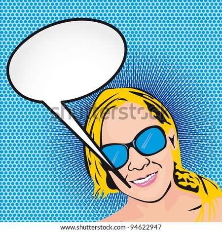 pop art woman with thought bubble over blue background. vector - stock vector