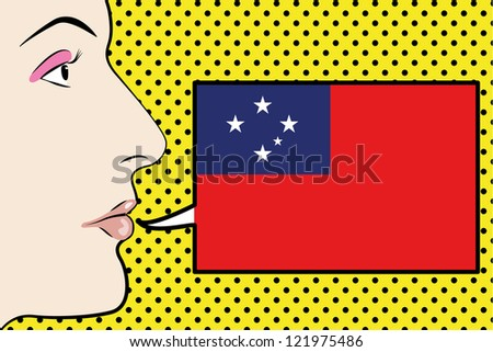 Pop Art Womans Face with the flag of Western Samoa in a speech bubble - stock vector