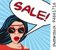 pop art women  with thought bubbles sale. vector illustration - stock vector
