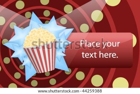 Pop corn bucket on a blue stars background. - stock vector