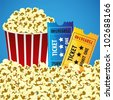 Pop corn with tickets, cine background, illustration vectorial - stock photo