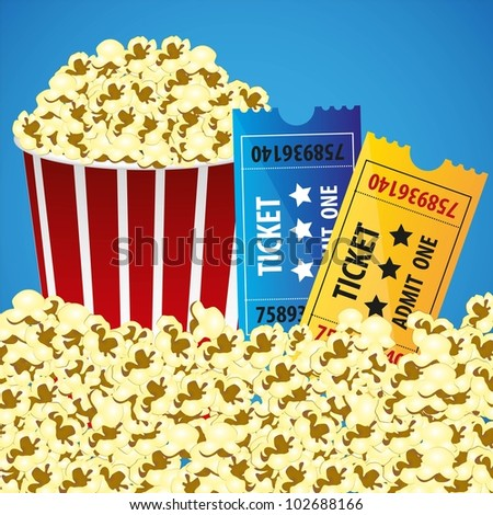 Pop corn with tickets, cine background, illustration vectorial - stock vector