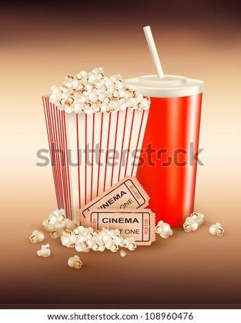 Popcorn and a drink and tickets. Vector illustration. - stock vector