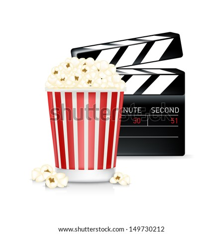 popcorn and movie clipper isolated on white background