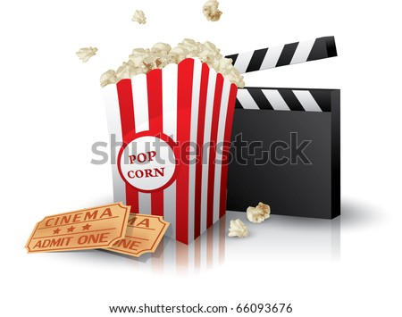 Popcorn and movie tickets with clapper board on white - stock vector