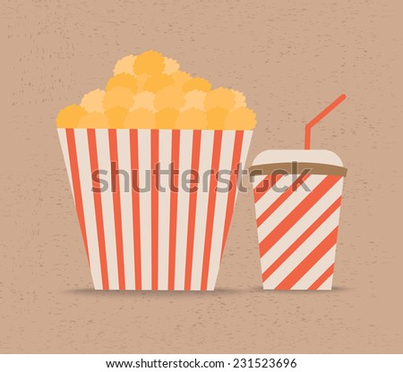 Popcorn and soda with straw - stock vector