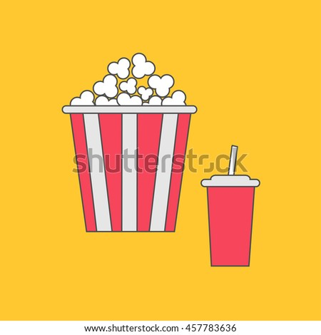 Popcorn and soda with straw. Cinema thin line icon in flat design style. Yellow background. Vector illustration
