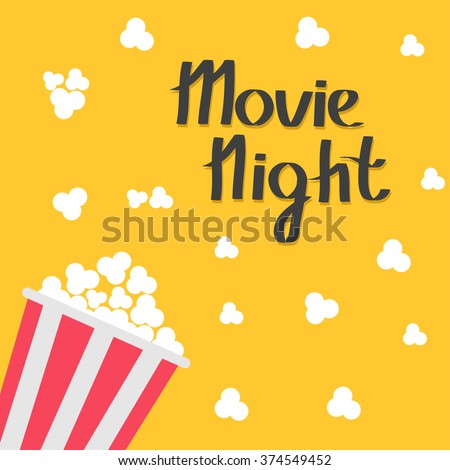 Popcorn bag. Cinema icon in flat design style. Left side. Movie night text. Lettering. Vector illustration - stock vector