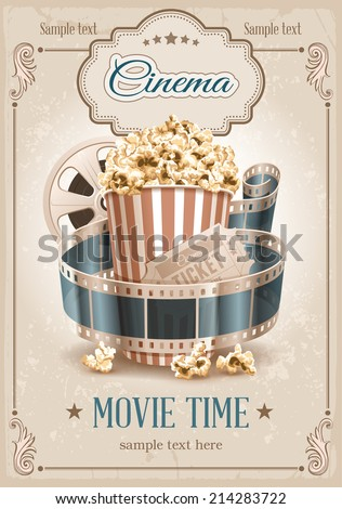 Popcorn bowl, film strip and ticket. Cinema attributes. Detailed vector illustration.  - stock vector