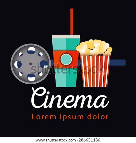 Popcorn bowl, film strip and ticket. Cinema attributes. Detailed vector illustration. - stock vector