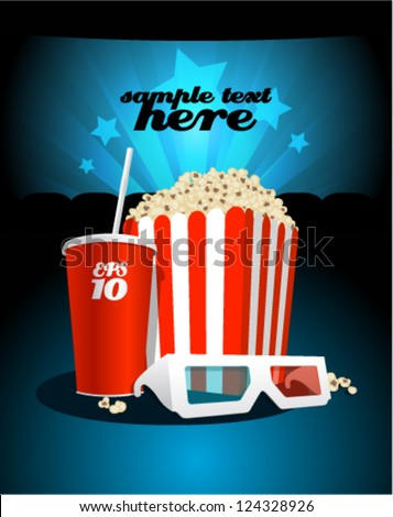 Popcorn box with cola and 3D glasses on the background screen cinema. - stock vector