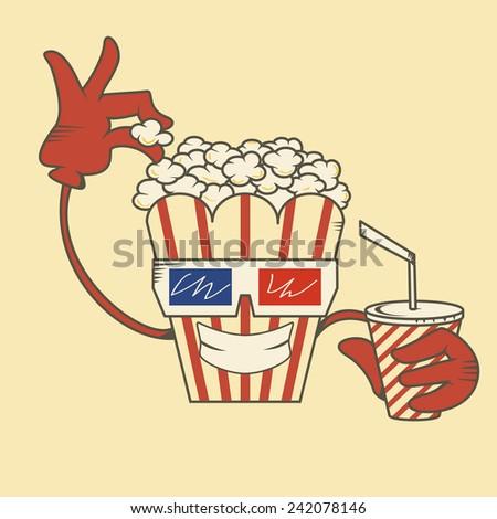 Popcorn character, vector illustration - stock vector