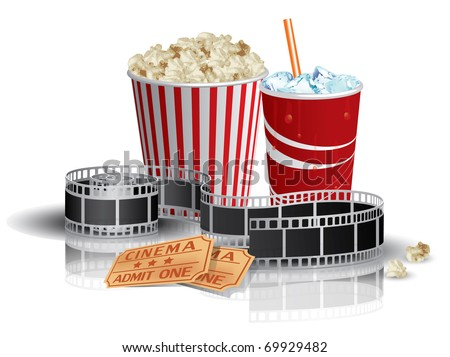 Popcorn, drink and filmstrip - stock vector
