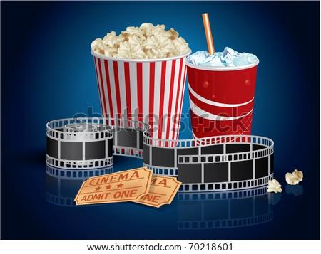 Popcorn, drink and filmstrip - stock vector