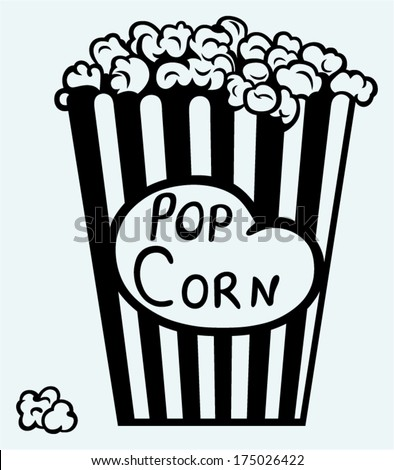 Popcorn exploding inside the packaging. Image isolated on blue background - stock vector