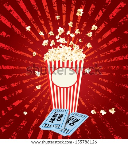 popcorn explosion with admit one tickets - stock vector