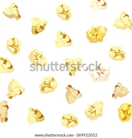 Popcorn falling on white background. vector 10eps - stock vector