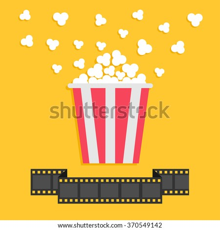 Popcorn. Film strip ribbon line. Red yellow box. Cinema movie night icon in flat design style. Vector illustration - stock vector